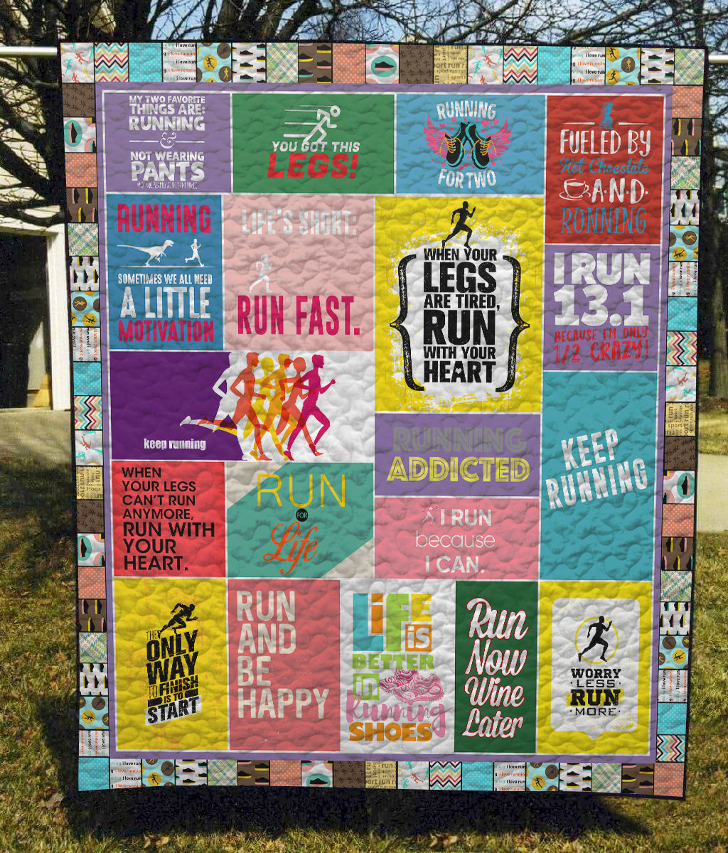 Run And Be Happy - Quilt Blanket