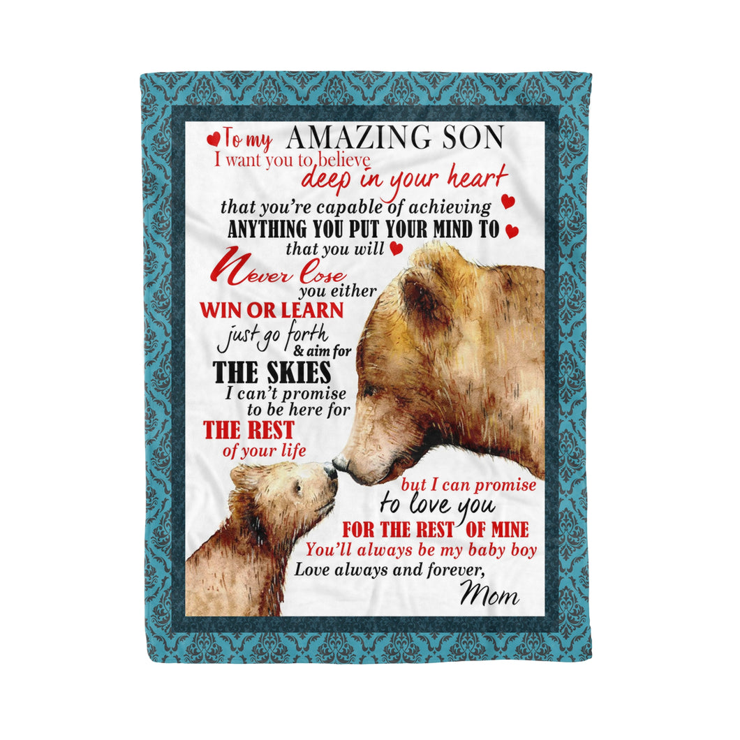 Bear Mom To Amazing Son - Son fleece blanket son gift daughter gift mother gift family gift idea bear lover gift idea