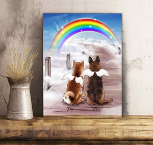 Custom personalized dog memorial canvas Pet remembrance print gift idea for dog mom dad pet lovers - Rainbow Bridge - Personalizedwitch
