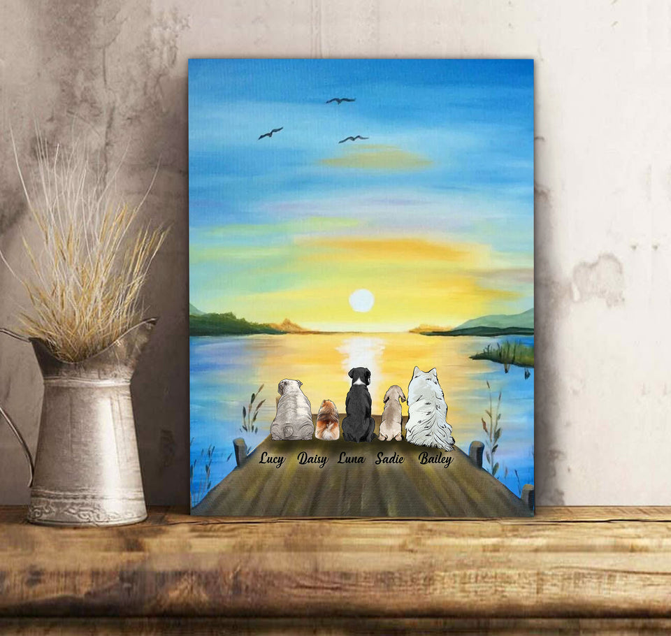 Custom Dog Canvas Sunrise Friends
