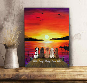 Custom Dog Canvas Sunset - Personalized dog & owner canvas, pet lovers, mom and dad gift
