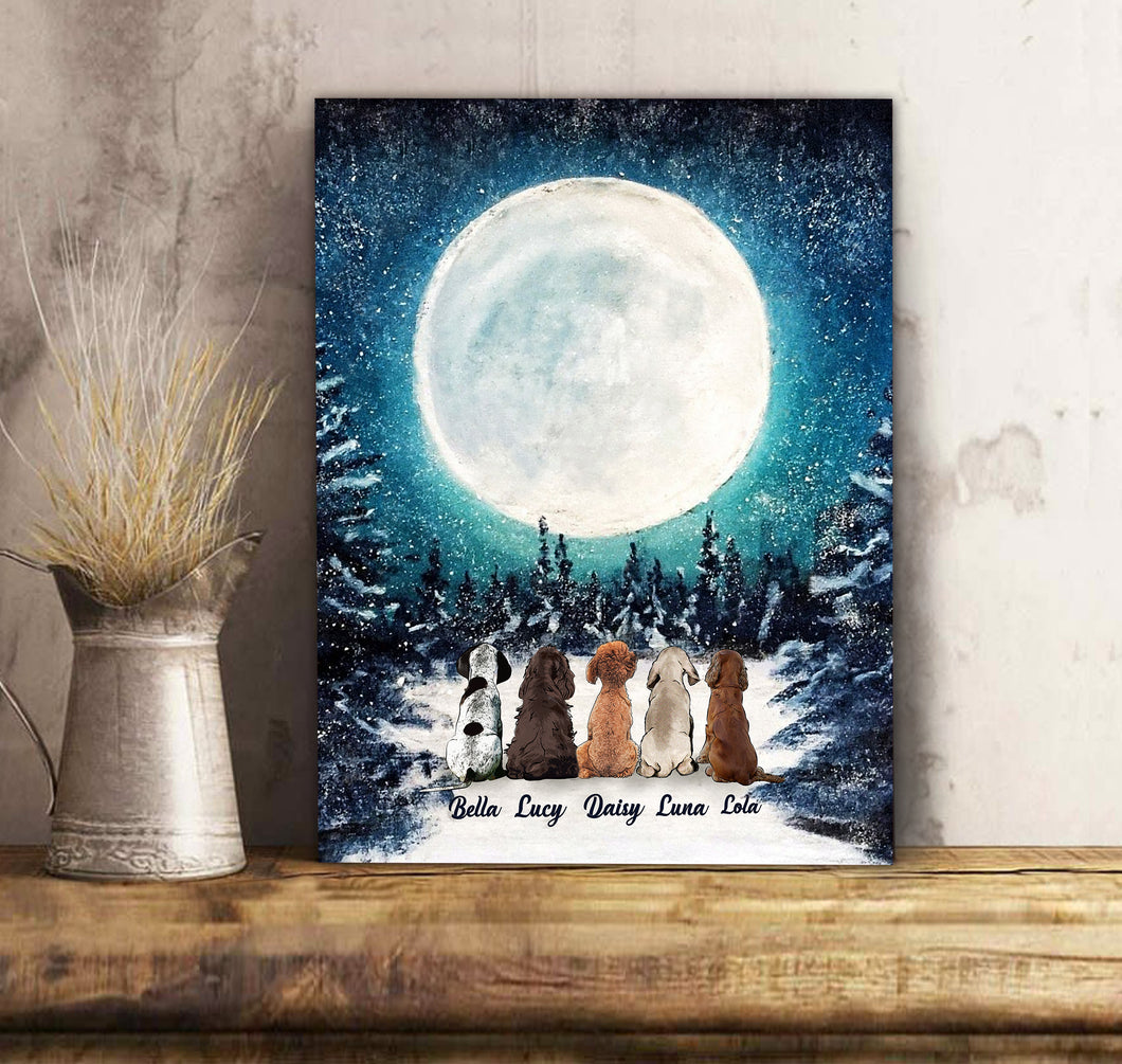 Custom personalized dog memorial canvas Pet remembrance print gift idea for dog mom dad pet lovers - Winter Night - PersonalizedWitch