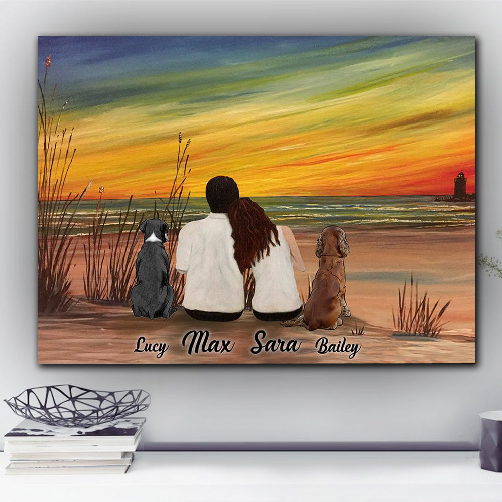 Custom personalized dog & owners canvas Pet remembrance print gift idea for the whole family - Sunset & Beach - PersonalizedWitch Valentines day gifts for him her couple boyfriend girlfriend