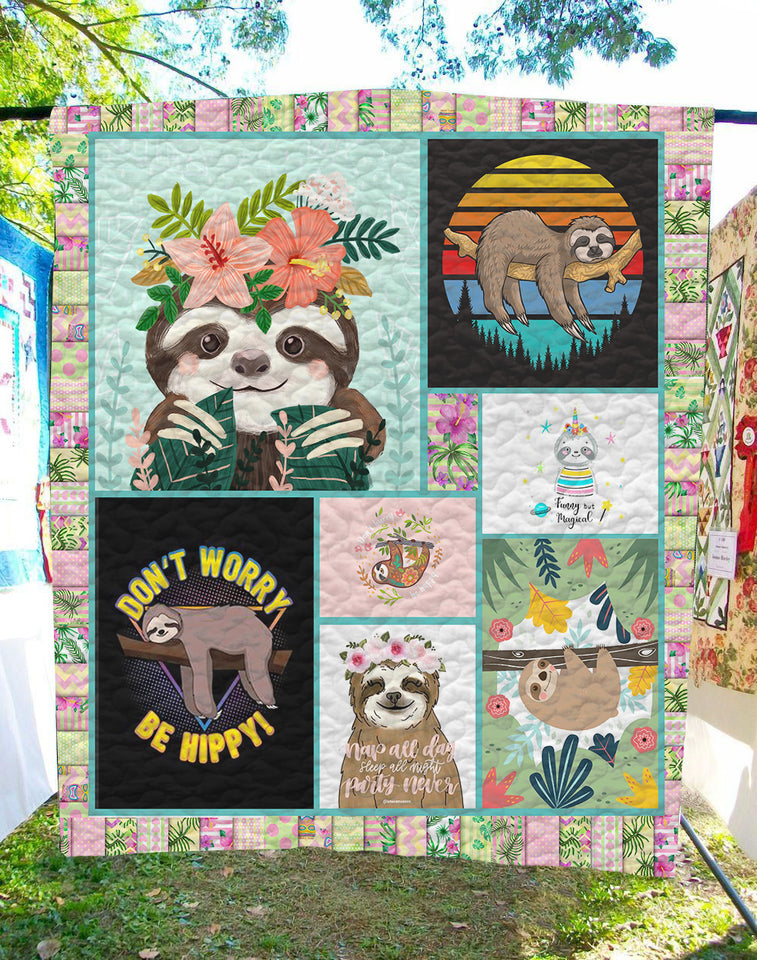 Sloth Flower - Quilt Blanket