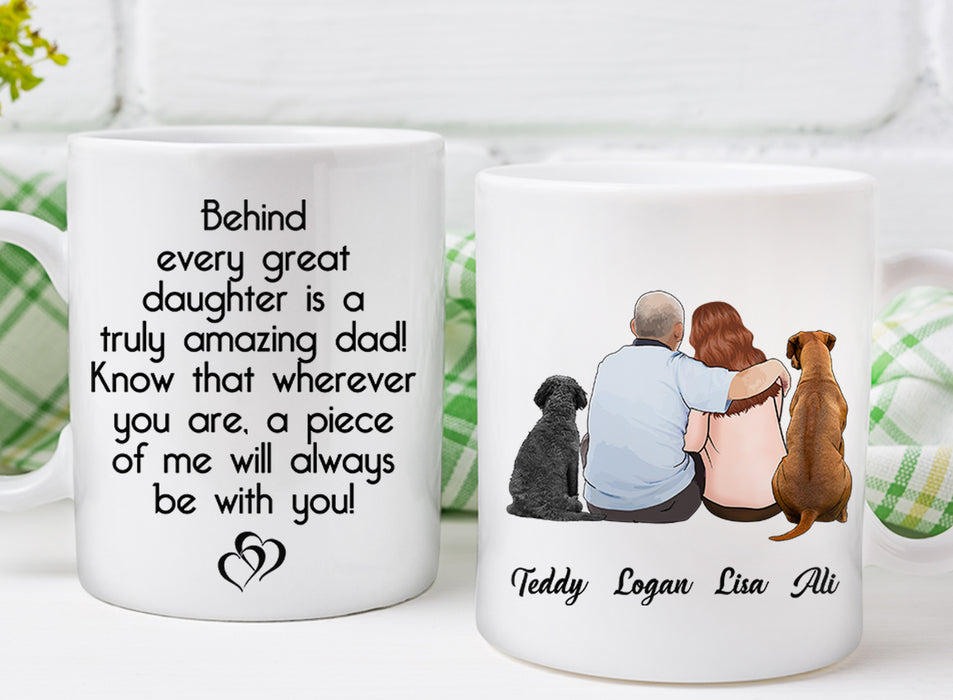 Custom personalized coffee mugs Father's day gifts idea, Christmas, birthday presents for dad from daughter - Custom Dog Mug Behind Every Great Daughter - PersonalizedWitch