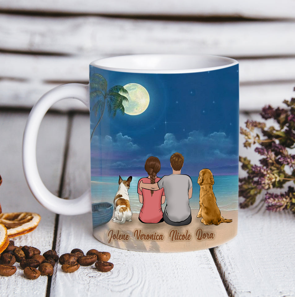 Custom personalized dog & owner coffee mugs gift for dog dad mom pet lovers, dog lovers, memorial pet loss gift - The Beach Night - PersonalizedWitch