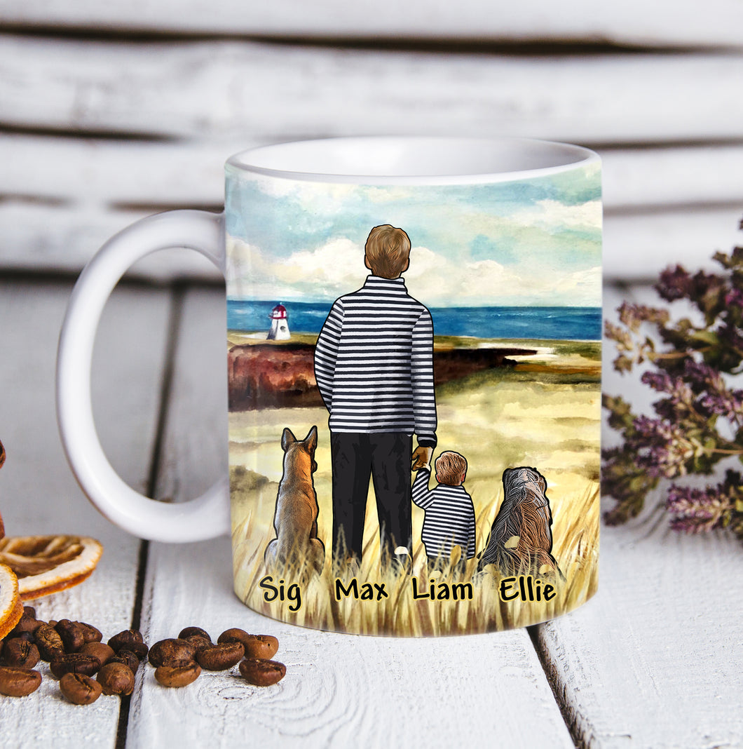 Custom personalized dog & owner coffee mugs father's day gift for dog dad pet lovers, father with daughter son, best christmas birthday gift - Dad And Children - PersonalizedWitch