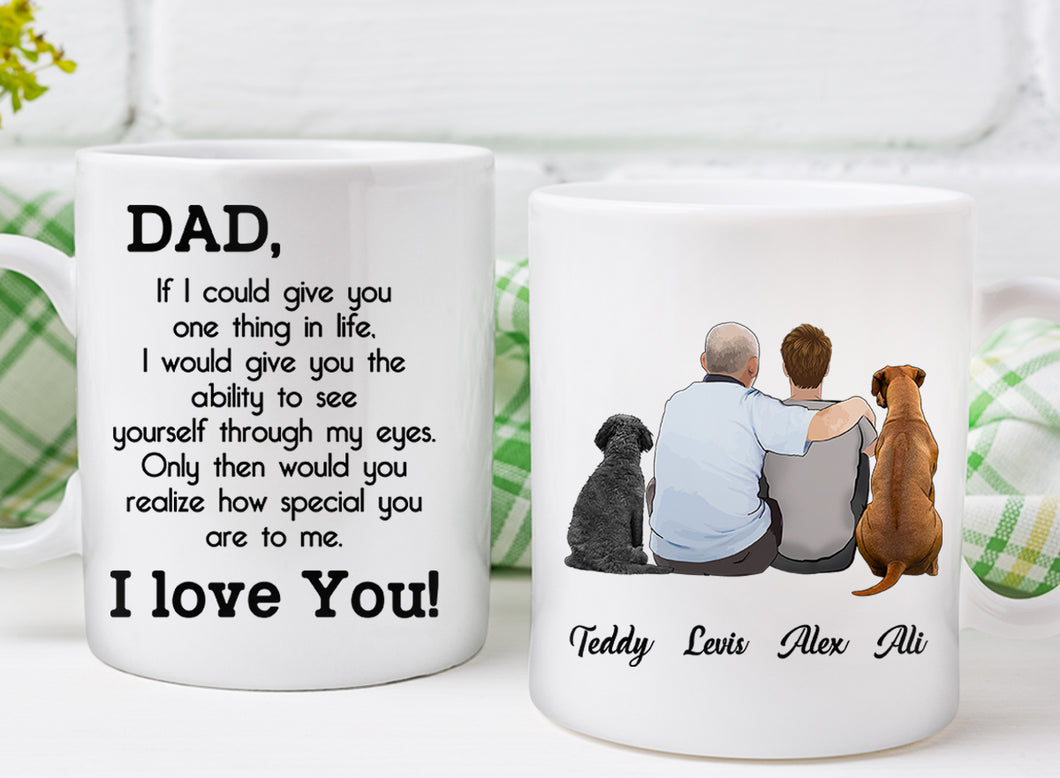 Custom personalized dog & owners canvas Pet remembrance print gift idea for the whole family - Custom Dog Mug Dad If I Could Give - PersonalizedWitch