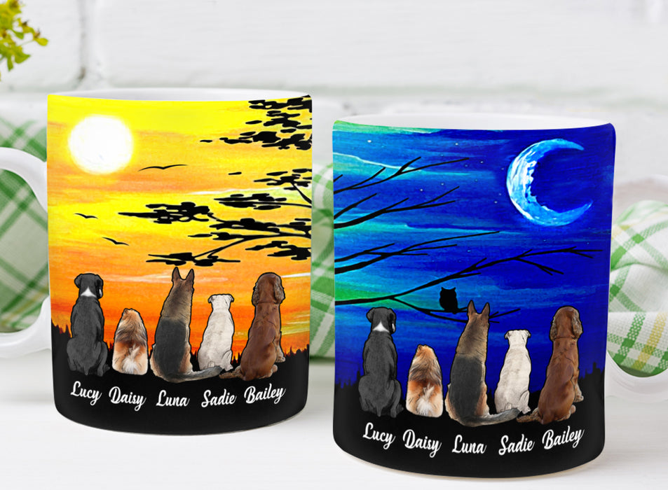 Coffee Mug Mother's day Father's day unique gift ideas for mom & dad from daughter & son kids, meaningful birthday presents -  Custom Dog Mug Day Night Trees