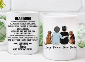 Custom personalized dog & owners canvas Pet remembrance print gift idea for the whole family - Custom Dog Mug Dear Mom I Love You Always Will - PersonalizedWitch