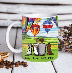 Custom personalized dog & owner coffee mugs gift for dog dad mom pet lovers, dog lovers, memorial pet loss gift - Hot Air Balloon - PersonalizedWitch