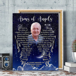 Custom personalized photo to canvas prints wall art Memorial remembrance gifts idea, pictures on canvas for family loved one - rms of Angels - PersonalizedWitch