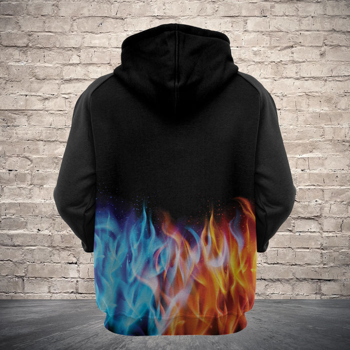 Hoodie Mother's day Father's day unique gift ideas for mom & dad from daughter & son kids, meaningful birthday presents -  Abstract blue and red fiery dragons H22401 - All Over Print Unisex Hoodie