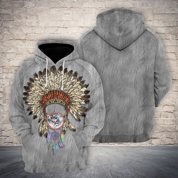 Hoodie Mother's day Father's day unique gift ideas for mom & dad from daughter & son kids, meaningful birthday presents -  Native American 3D Wolf G522 - All Over Print Unisex Hoodie