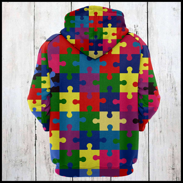 Hoodie Mother's day Father's day unique gift ideas for mom & dad from daughter & son kids, meaningful birthday presents -  Colorful Puzzles Awareness Autism D274 - All Over Print Unisex Hoodie