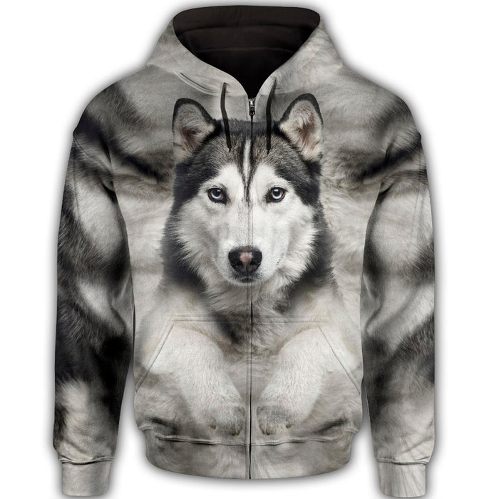 Siberian Husky Cute Face Dog T284 - All Over Print Zip Hoodie