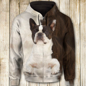 Boston Terrier Cute Dog Face T284 - All Over Print Zip Hoodie