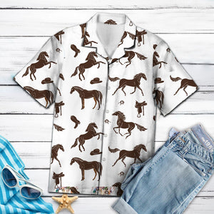 Amazing Brown Horses And Cowboy Western Equipment HT13702 - Hawaii Shirt