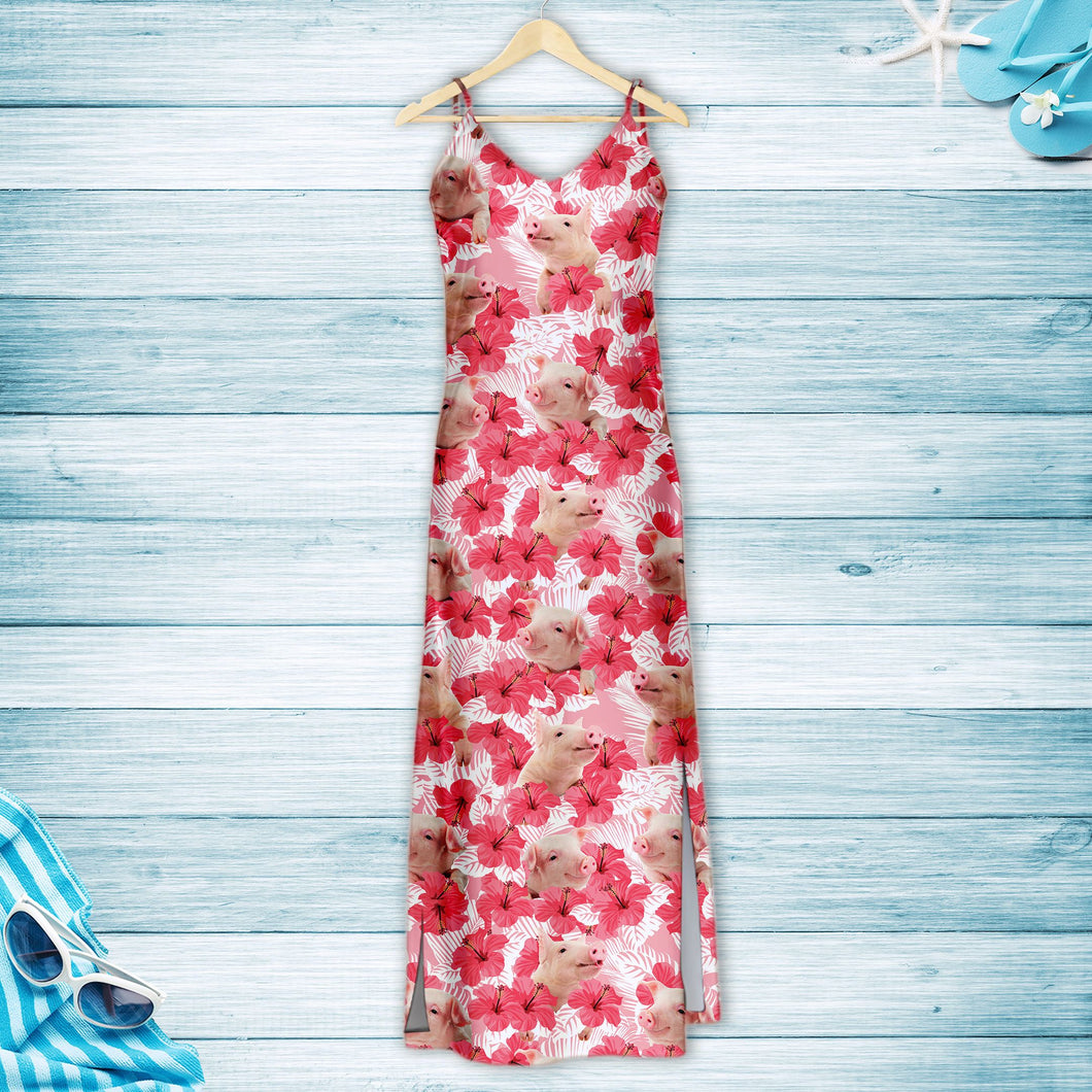 Tropical Flowers Hibiscus Pig H157049 - Hawaii Dress
