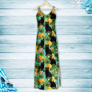 Tropical Pineapple Black Cat H157095 - Hawaii Dress