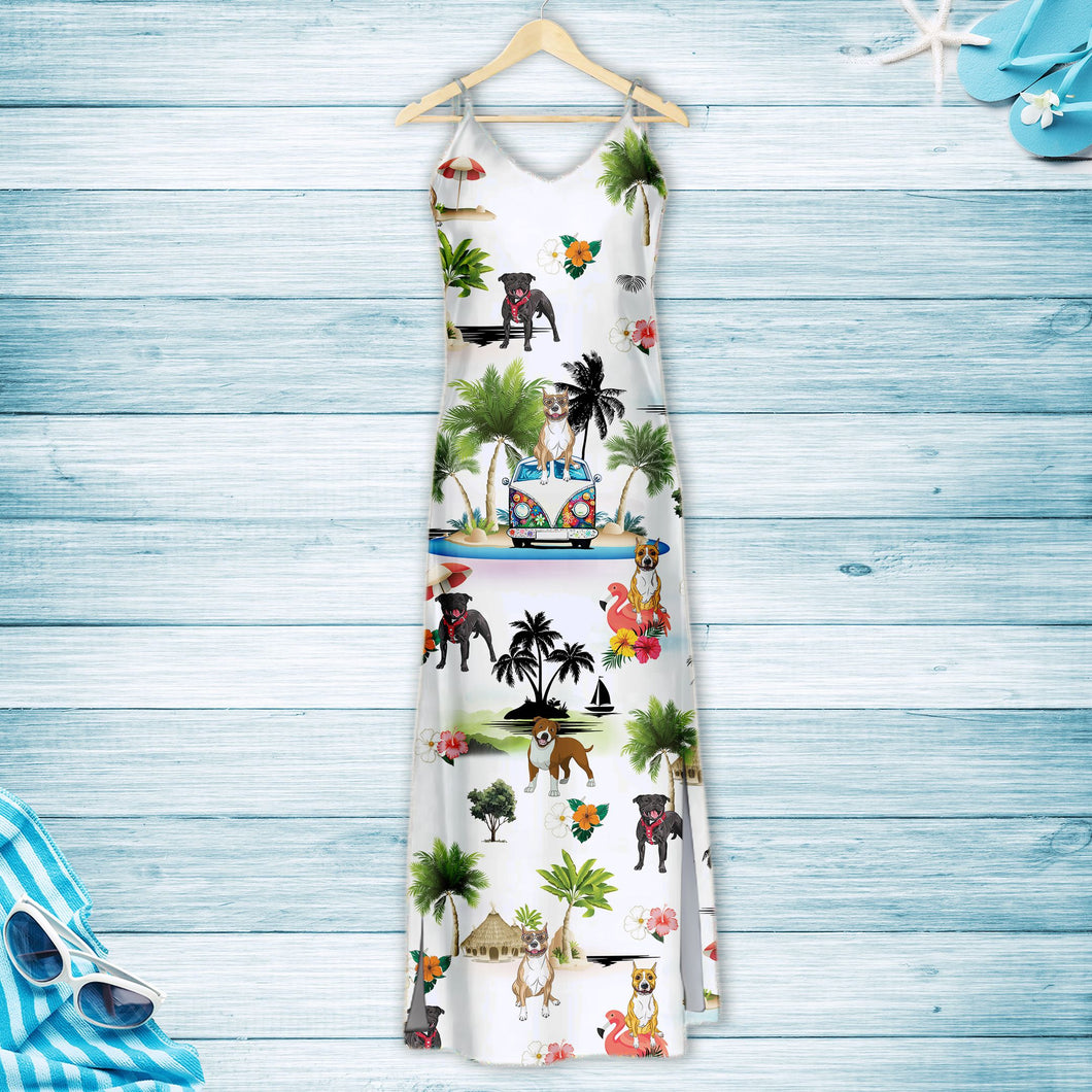 American Staffordshire Terrier On Vacation G5716 - Hawaii Dress