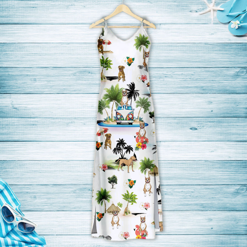 Staffordshire Bull Terrier On Vacation G5716 - Hawaii Dress