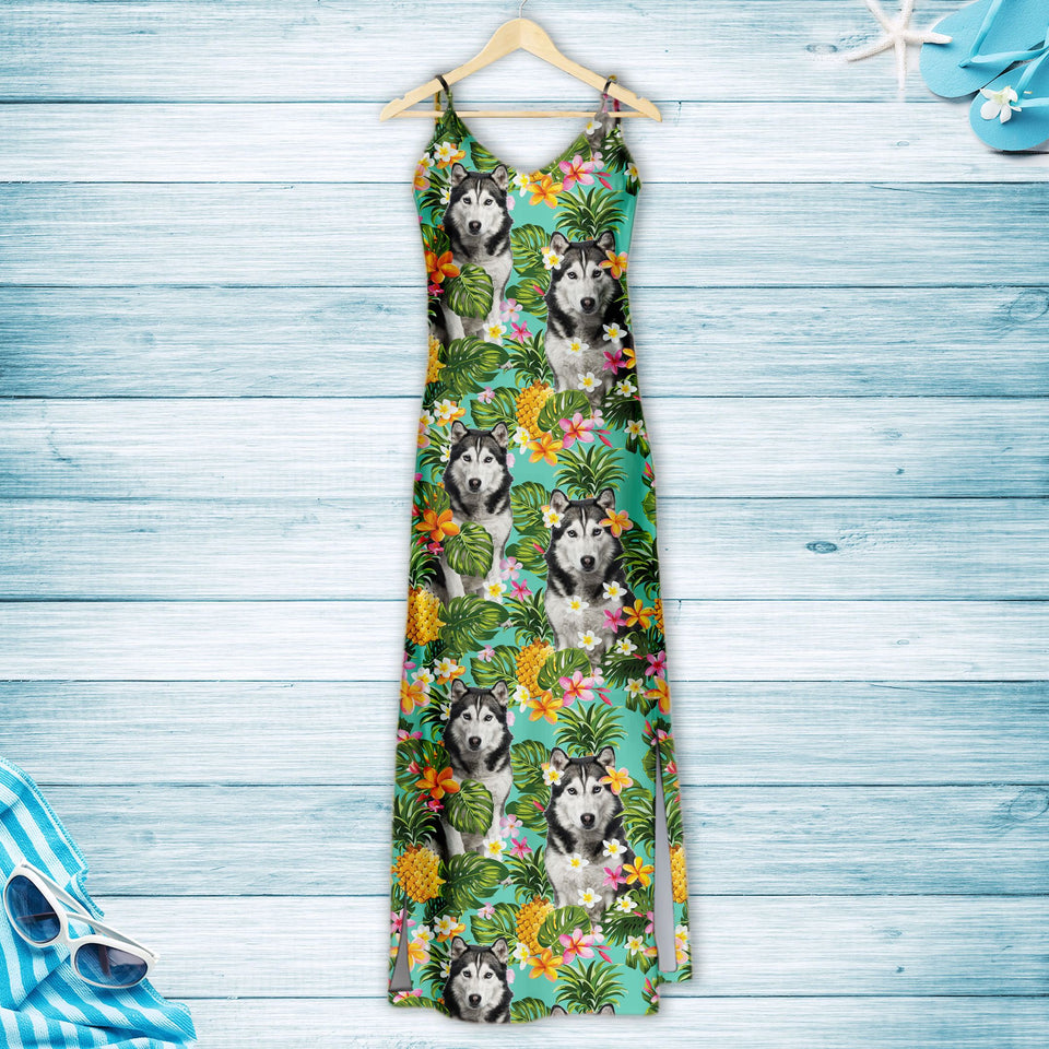 Tropical Pineapple Siberian Husky H167014 - Hawaii Dress
