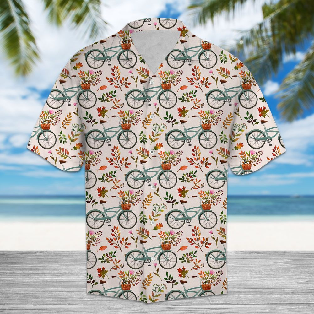 Autumn Bike H217017 - Hawaiian Shirt unisex womens & mens, couples matching, friends, funny family christmas holiday hawaiian shirt gifts (plus size available)