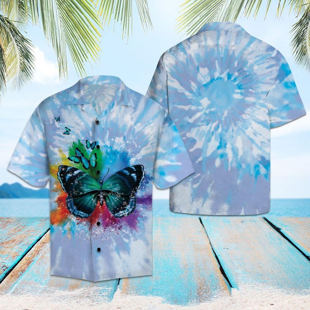 Butterfly Blue Tie Dye H137021 - Hawaii Shirt