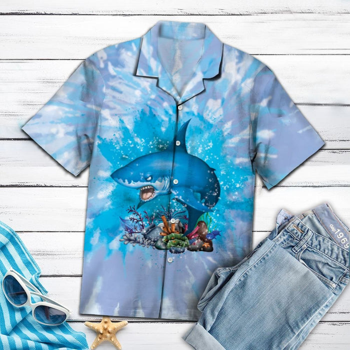 Aloha Shirt Mother's day Father's day unique gift ideas for mom & dad from daughter & son kids, meaningful birthday presents -  Shark Blue Tie Dye H137024 - Hawaii Shirt