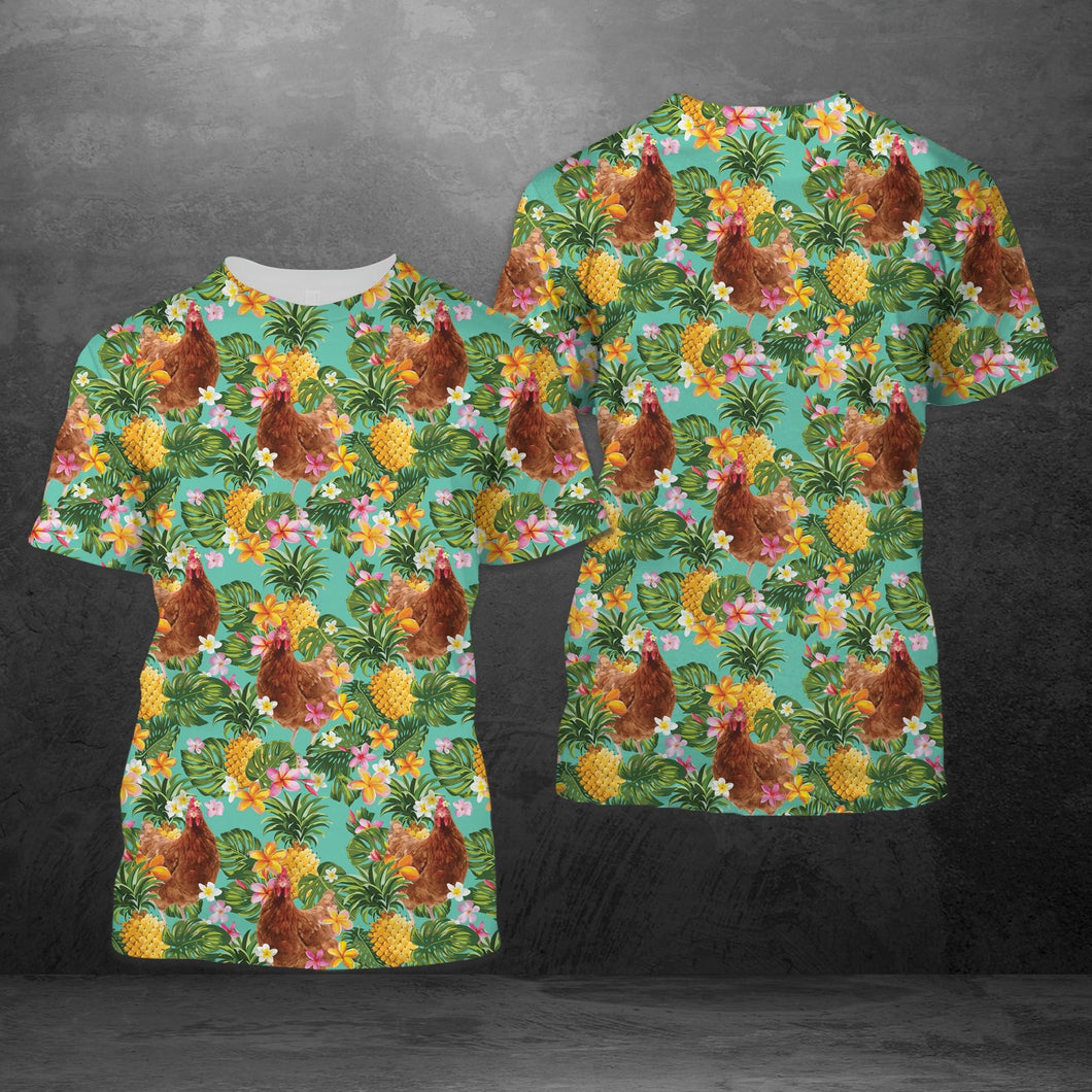 Tropical Pineapple Chicken H227044 - Unisex Tshirt 3D