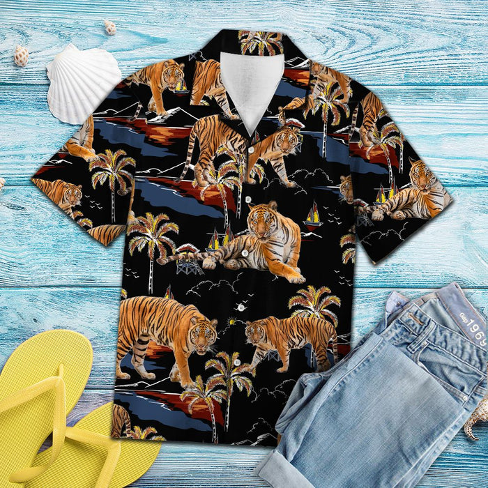 Tiger On Vacation TG5723 - Hawaiian Shirt unisex womens & mens, couples matching, friends, funny family christmas holiday hawaiian shirt gifts (plus size available)