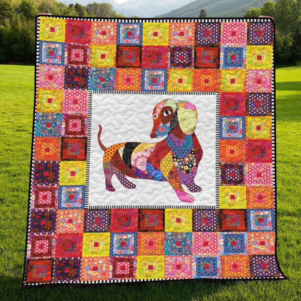 Colorful Dachshund H247032 - Quilt Blanket