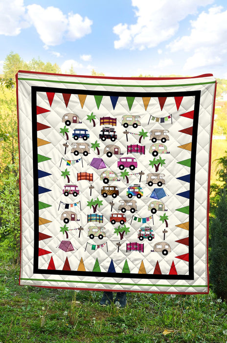 Camping Car Party T2407 - Quilt Blanket