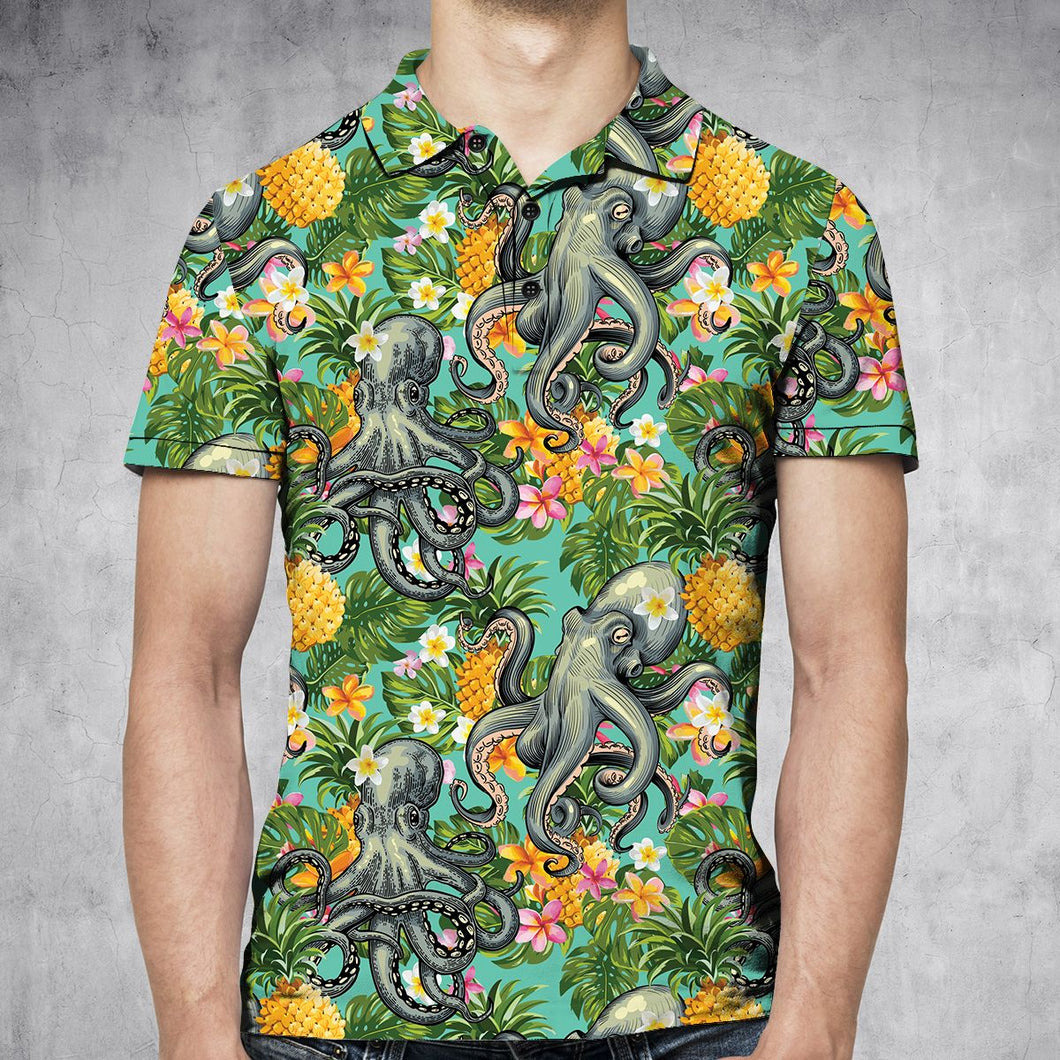 Tropical Pineapple Octopus H27710 - All Over Print Polo Shirt