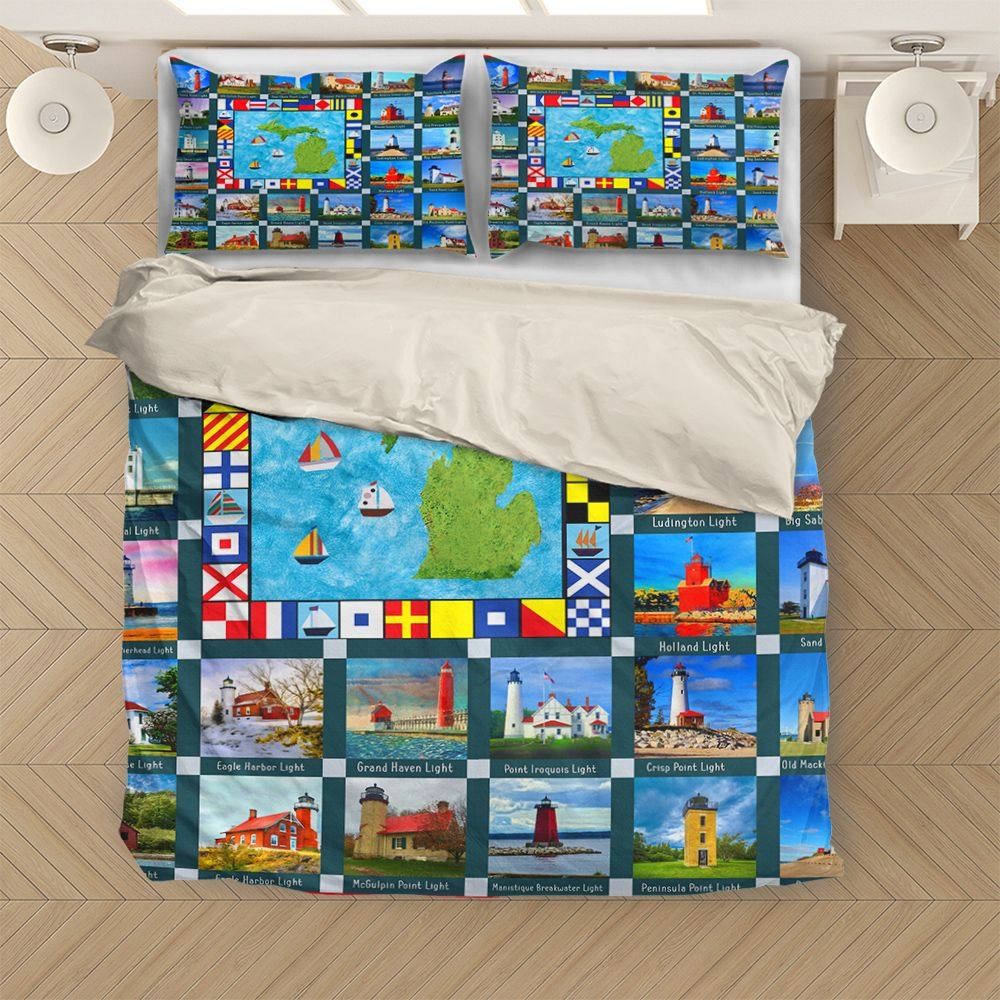 Michigan The State Of Lighthouse H28826 - Bedding Set