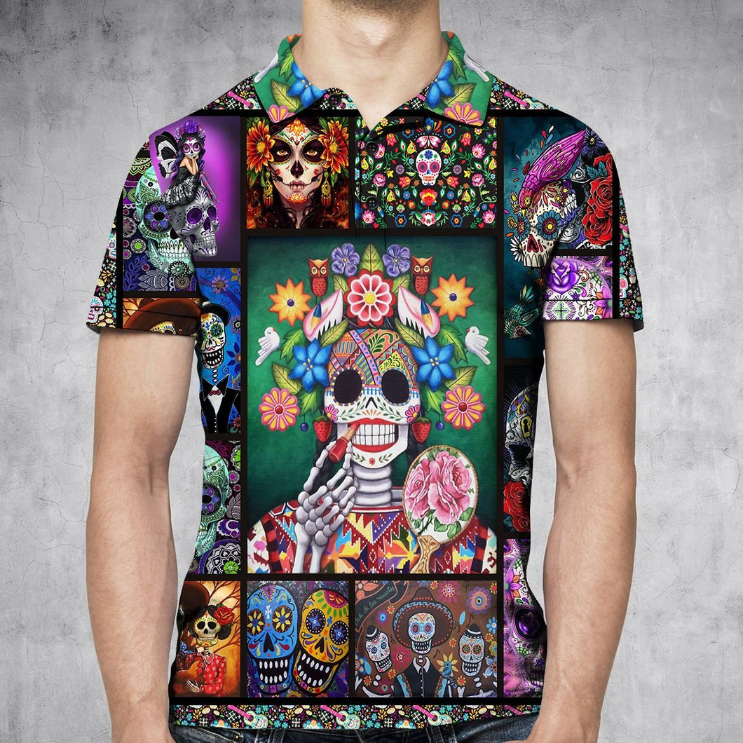 Sugar Skull Make Your Mind Fly H29740 - All Over Print Polo Shirt