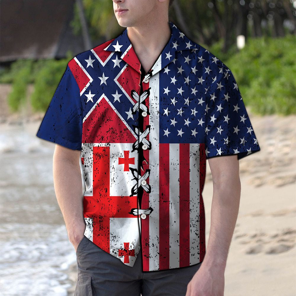 Georgia Confederate USA G5730- Hawaiian Shirt
