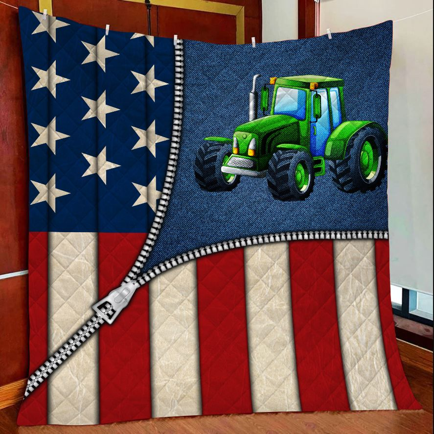 US Flap Zipper Green Tractor G5804 - Quilt Blanket