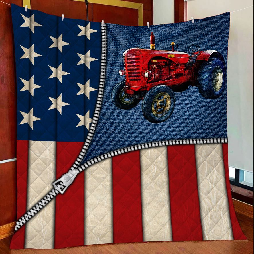 US Flap Zipper Red Tractor G5804 - Quilt Blanket