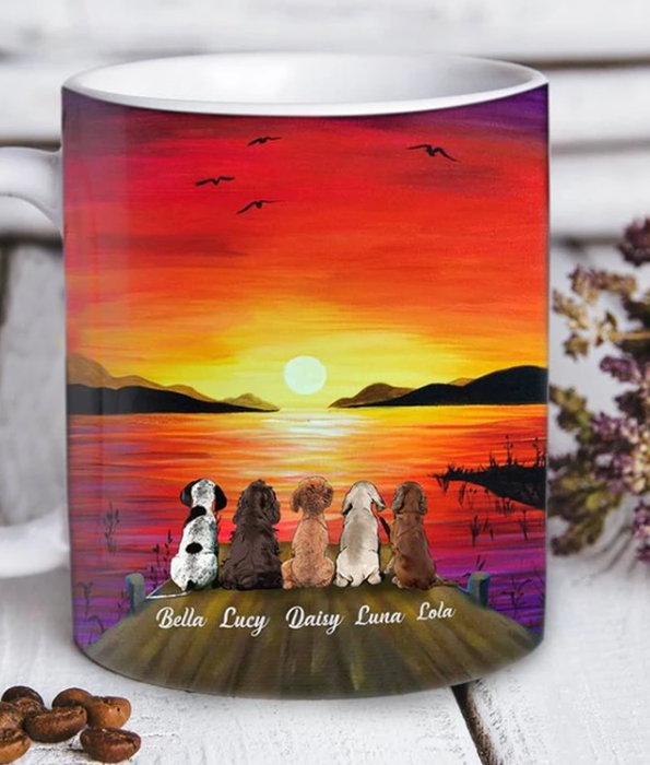 Custom personalized dog & owner coffee mugs gift for dog mom dad pet lovers, dog lovers, unique mother's day father's day gift, birthday gift for mom dad ideas from daughter & son kids- Sunset - PersonalizedWitch