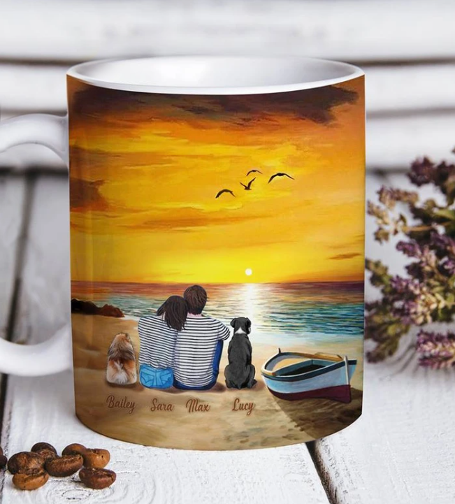 Custom personalized dog & owner coffee mugs gift for dog dad mom pet lovers, dog lovers - Sunset On The Beach - PersonalizedWitch