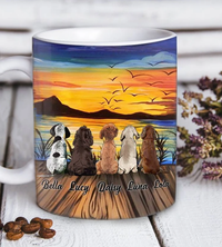 Custom personalized dog coffee mugs gift for dog dad mom pet lovers, dad lovers - Custom Dog Mug Sunset On The Lake - PersonalizedWitch