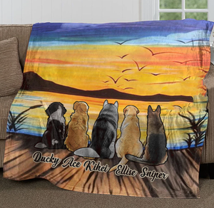 Custom Personalized Dog Ultra-Soft Micro Fleece Blanket gifts for Dog Mom Dad pet lovers - Sunset On Lake - PersonalizedWitch