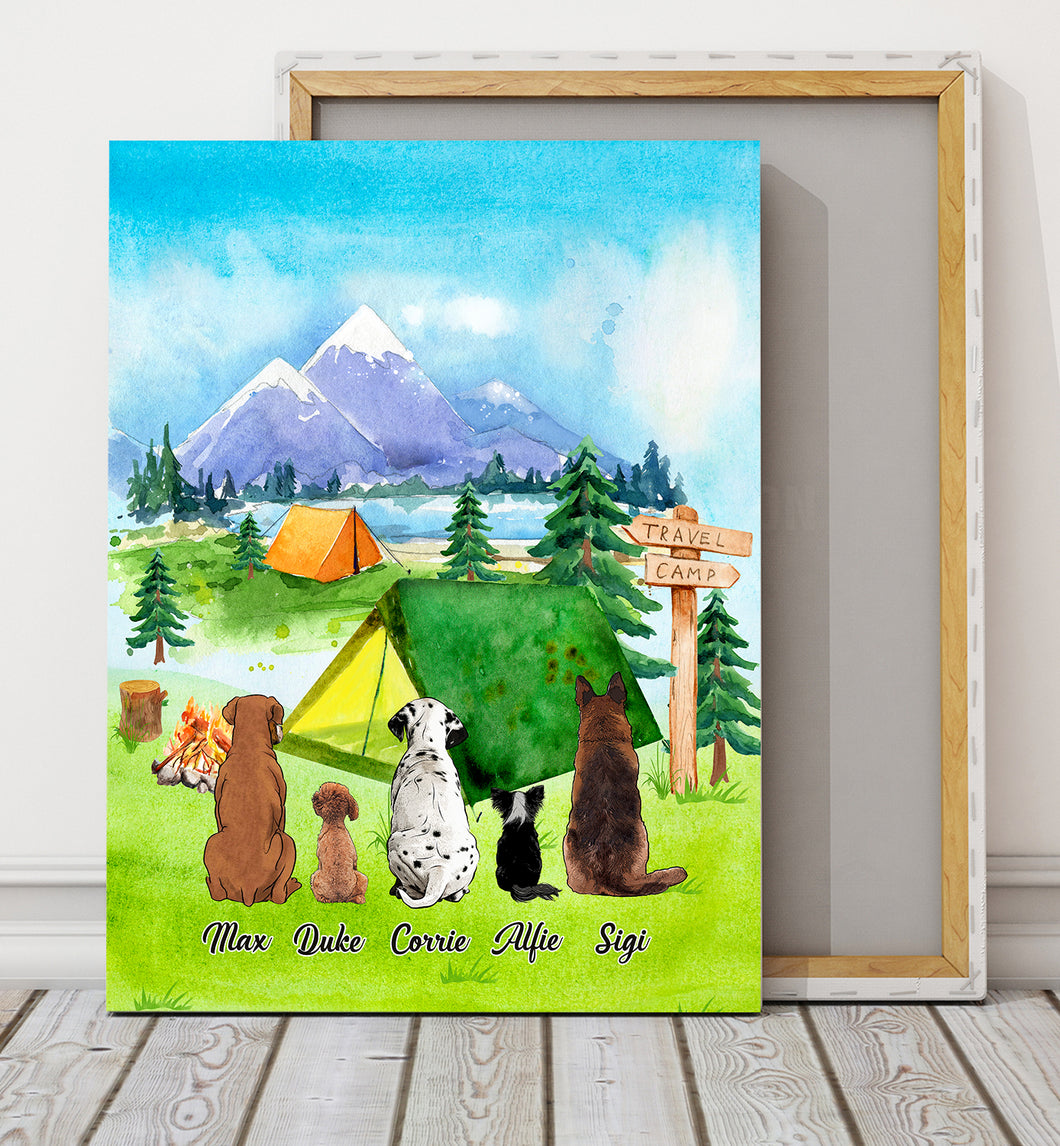 Camping Together - Personalized custom dog canvas print Pet canvas Mother gift idea dog lover gift