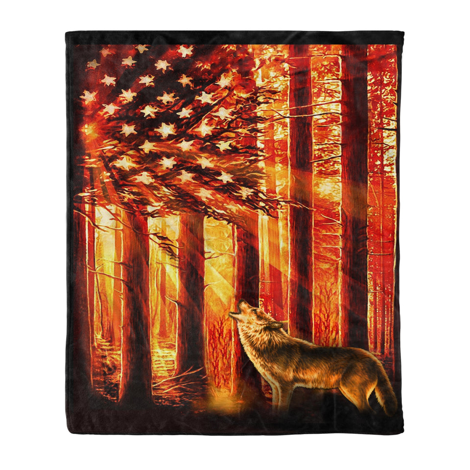 Wolf With USA Flag Fleece Blanket - Wolf fleece blanket wolf lover gift birthday gift idea