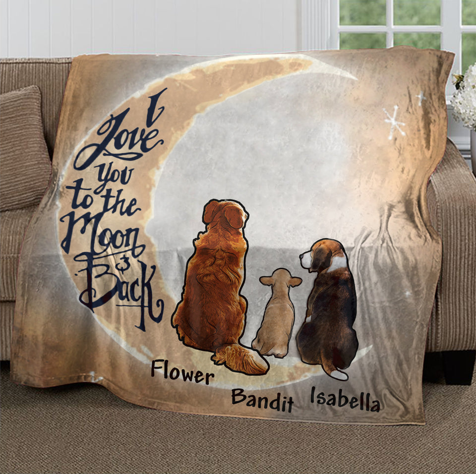 Custom Personalized Dog Ultra-Soft Micro Fleece Blanket gifts for Dog Mom Dad pet lovers - Love You To The Moon And Back