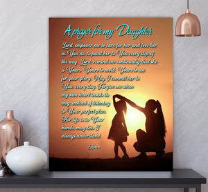 Custom personalized photo to canvas prints wall art gifts idea, pictures on canvas Christmas, birthday presents for daughter & son - A Prayer For My Daughter - PersonalizedWitch