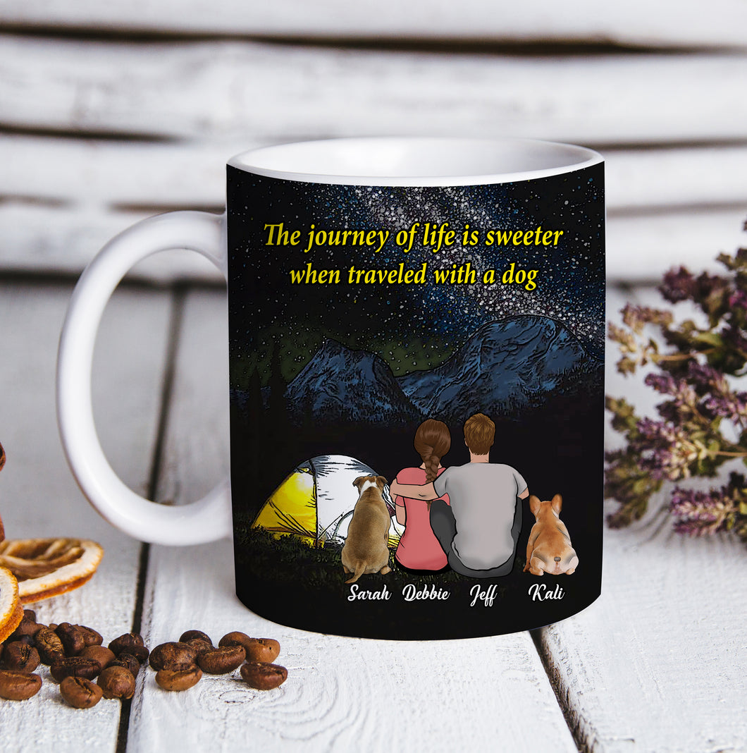 Custom personalized coffee mugs Mother's day gifts idea, Christmas, birthday presents for mom from son - Custom Dogs Canvas And Mug Camping With Dogs - PersonalizedWitch