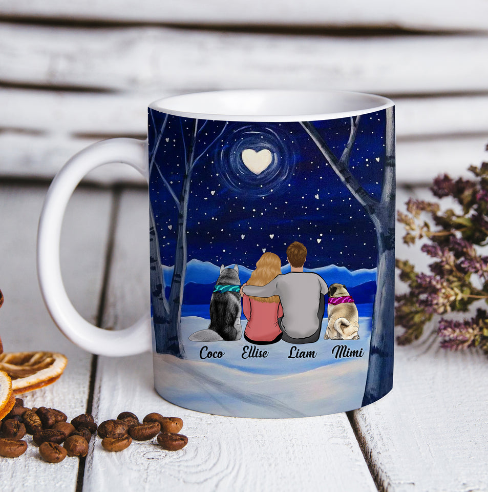 Custom personalized dog & owner coffee mugs gift for dog dad mom pet lovers, dog lovers - Custom Dogs Heart Forest - PersonalizedWitch